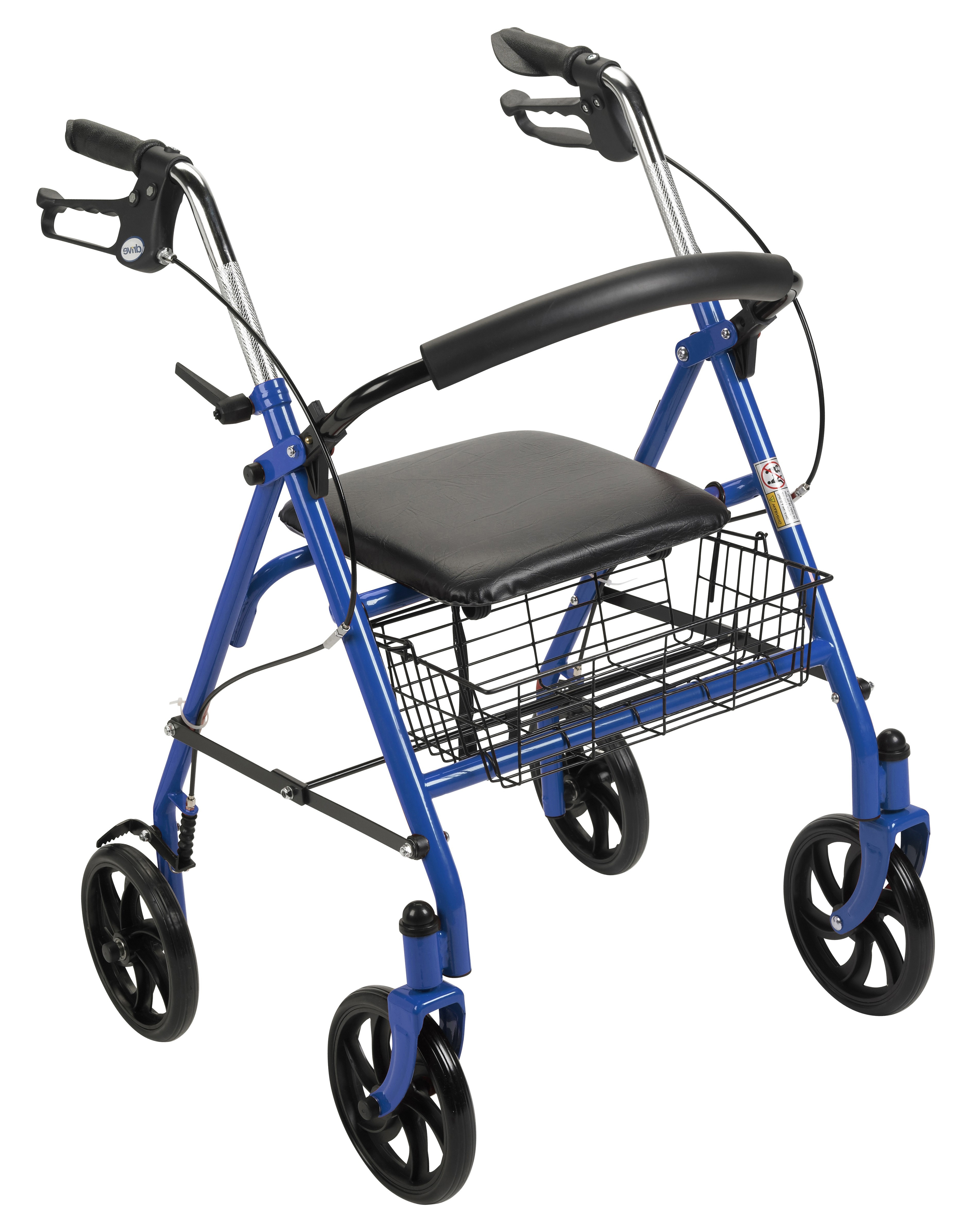 """Durable 4 Wheel Rollator with 7.5"""" Casters-Blue"""