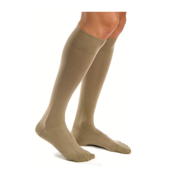 Men 20-30 mmHg Knee High Ribbed Compression Socks