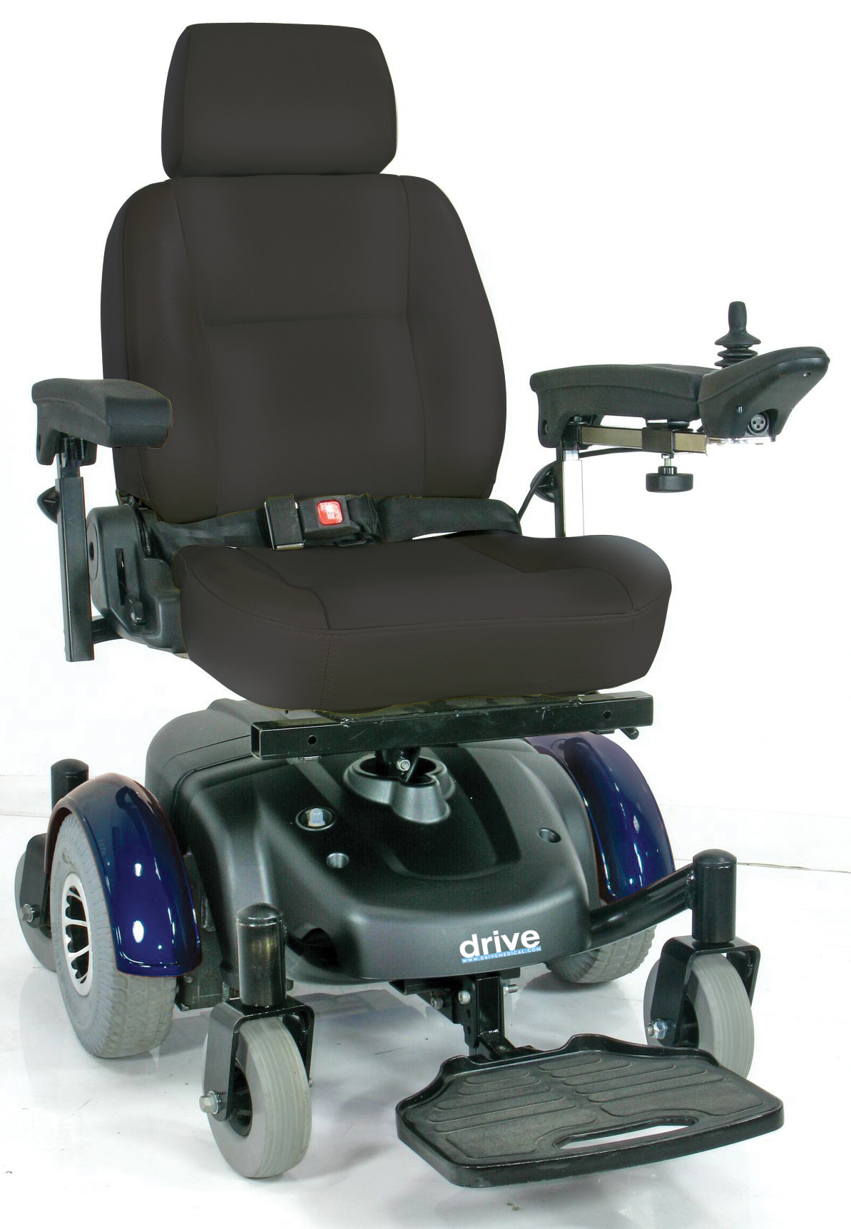 Image EC Mid Wheel Drive Power Wheelchair - Blue Panels - Front View