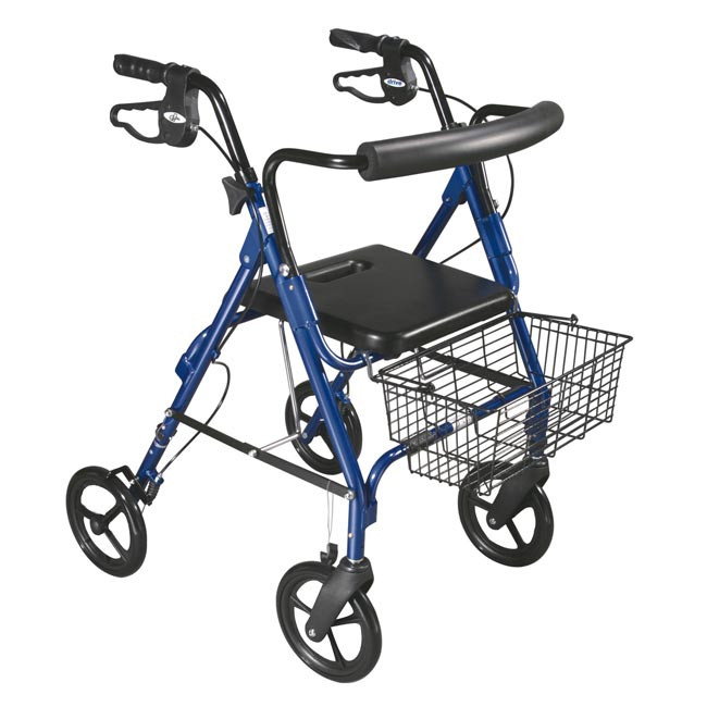"""D-Lite Aluminum Rollator with Removable 8"""" Casters - Blue - 750NB"""