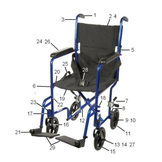 Drive ATC Transport Chair Parts