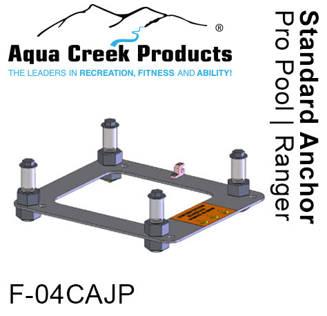 "Aqua Creek Anchor Kit, Standard Concrete Applications 4-point w/jig & 4"" inserts for Ranger, Pro, Admiral Lifts"