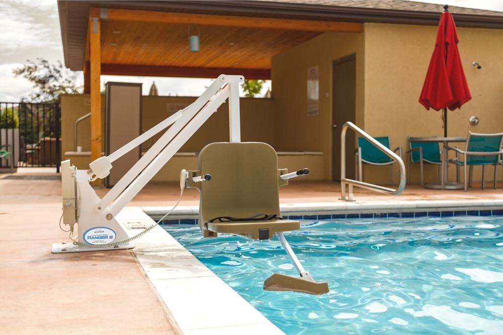 Ranger 2 Pool Lift - No Anchor - 350 lb - White with Gray Seat