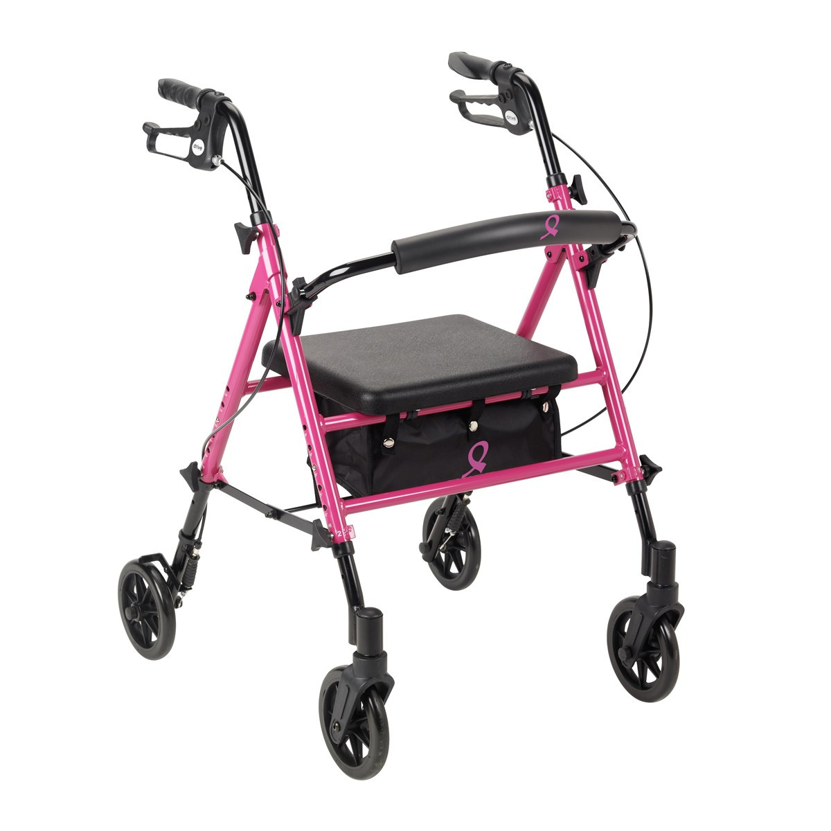 """Adjustable Height Rollator with 6"""" Wheels - Pink"""