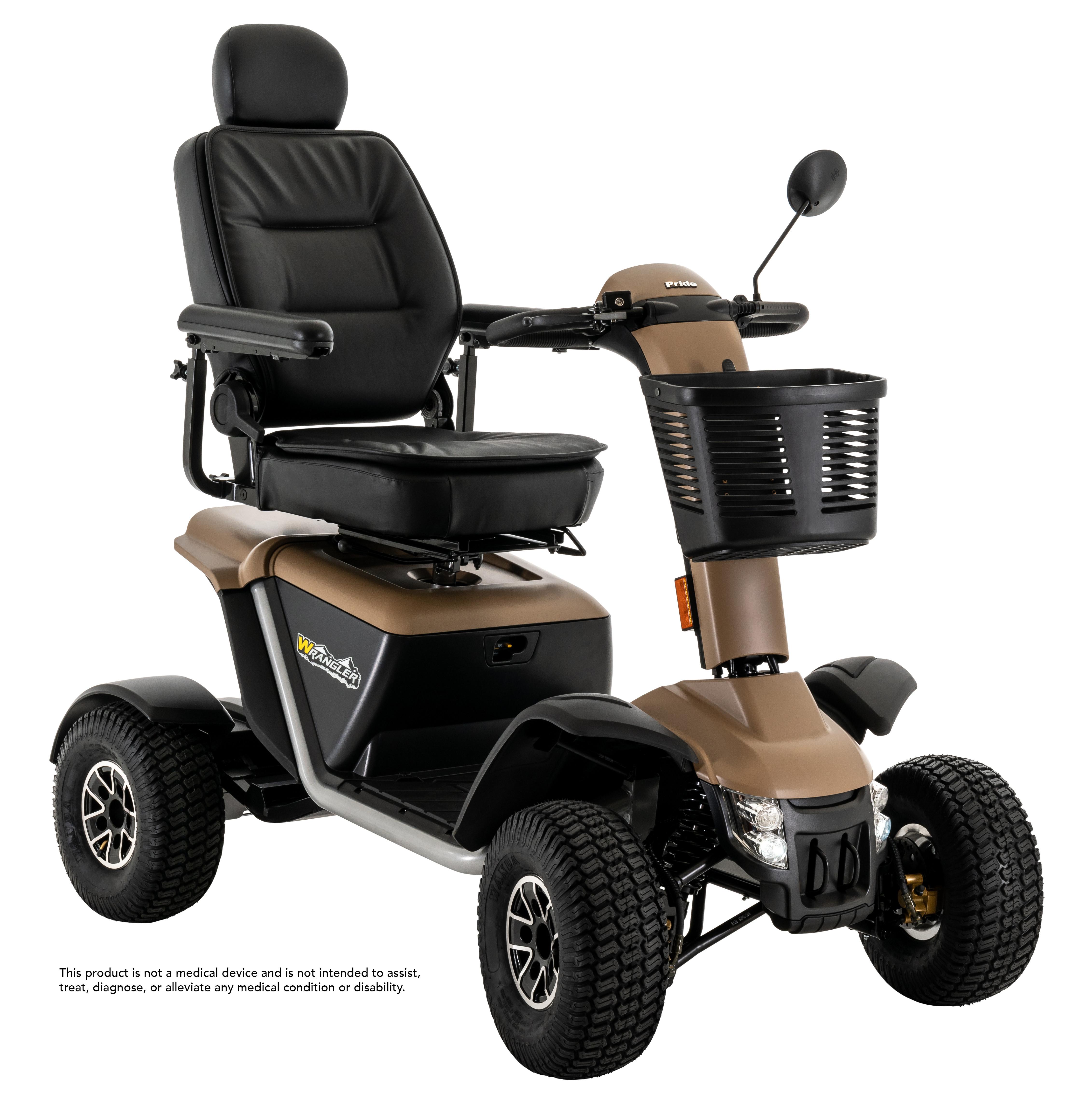 Pride Wrangler 4-Wheel PMV Scooter - Desert Sand - Right - Basket