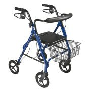 "D-Lite Aluminum Rollator with Removable 8"" Casters - Blue - 750NB"