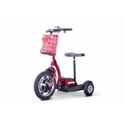 E-Wheels 3 Wheel Stand or Sit Scooter with Folding Tiller -  EW-18-Red