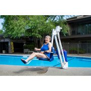 Aqua Creek Mighty 400 Pool Lift, No Anchor, White Powder Coat, Blue Seat, 400lb Capacity